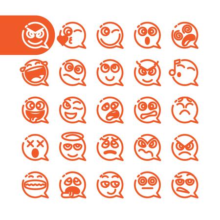 Fat ligne Icon Set de parole émoticônes à bulles pour le web et mobile. Modernes minimalistes éléments de design plat de bulle de la parole emoji isolé sur fond blanc, illustration vectorielle.