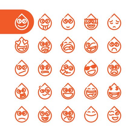 tear drop: Fat Line Icon Set of tear drop emoticons for web and mobile. Modern minimalistic flat design elements of water dribs emoji isolated on white background, vector illustration.