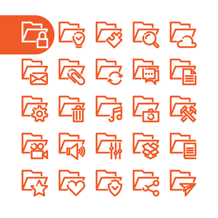 folder icons: Business Fat Line folder Icon set for web and mobile. Modern minimalistic flat design elements of office and custom folder icons Illustration