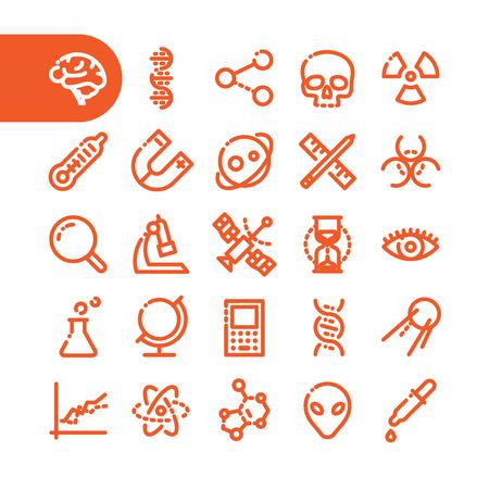 metodo cientifico: Fat Icono Línea para web y móvil. Elementos planos minimalistas modernos de diseño del equipo científico, la biotecnología, las pruebas de genoma, físico y los materiales químicos de investigación Vectores