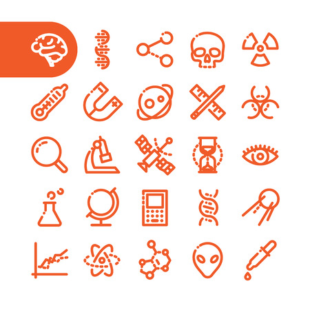 genome: Fat Line Icon set for web and mobile. Modern minimalistic flat design elements of scientific equipment, biotechnology, genome testing, physical and chemistry materials research Illustration