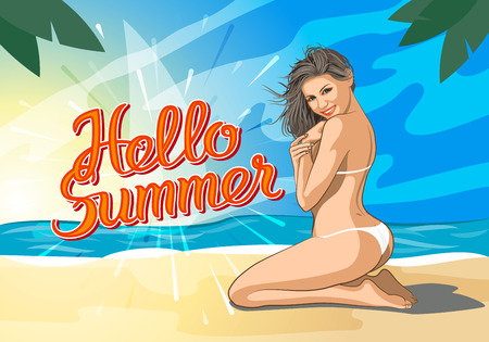 nude outdoors: Hello summer lettering and Woman Sitting on Sand of the Sea Beach and Takes Sunbath