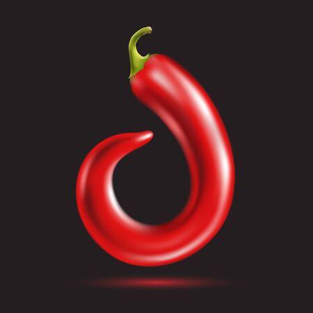 vegetable cook: Red hot chili Pepper Letter symbol