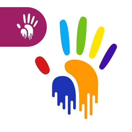 human touch: paint flow handprint. rainbow colors of a hand and fingers Illustration