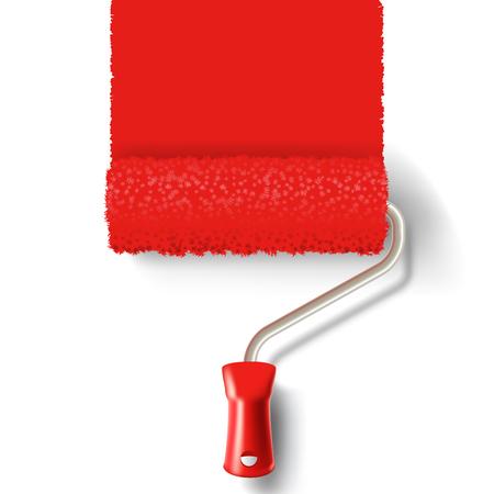 Cepillo de pintura de rodillos con pista de pintura roja sobre fondo blanco. aplicable para las banderas y etiquetas. Ilustración del vector.
