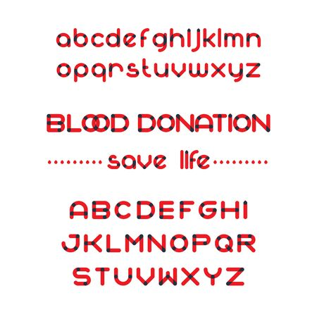 rh: Round blood font set. Blood donation typeset. Save life. Vector blood alphabet Illustration