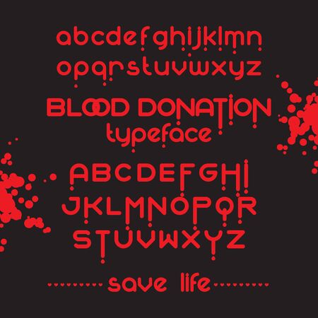 rh: Round blood font set. Blood donation typeset. Save life. Vector red blood alphabet
