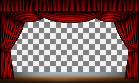 entertainment event: transparent frame of stage with red curtain