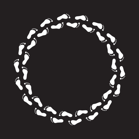 barefoot walking: round circle white foot steps on black background. Vector clockwise feet track