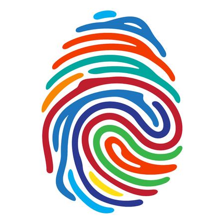 Arcobaleno impronte digitali a colori isolato su sfondo bianco