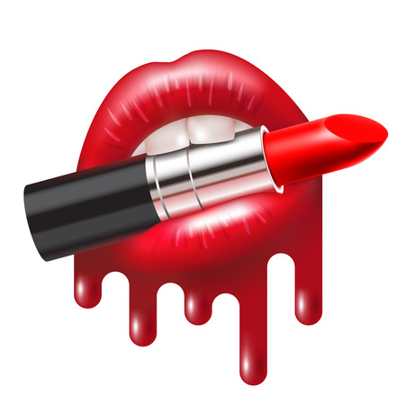 Red lipstick in the open mouth with glossy melted lips. Vector illustration  イラスト・ベクター素材