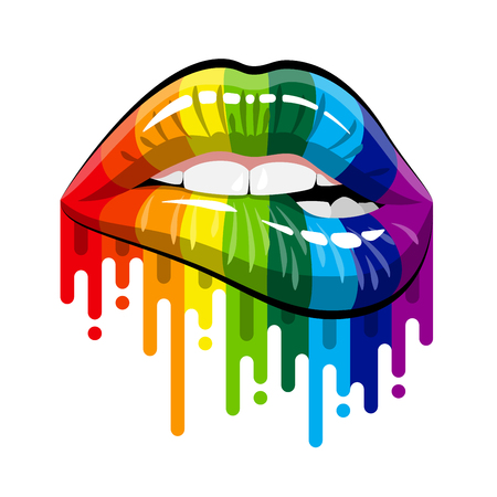 Open Mouth with Rainbow color paint flow Lips Biting