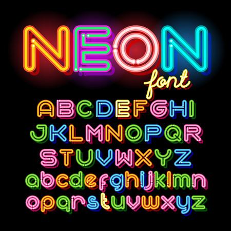 font: La luz de neón del alfabeto vector de fuente. cartas tubo de neón sobre fondo oscuro. Mayúscula y juego de cajas de pequeña