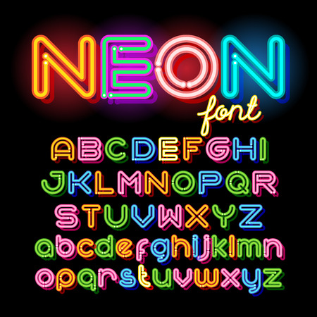 neon sign: Neon Light Alphabet Vector Font. Neon tube letters on dark background. Uppercase and small case set