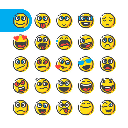Color Line Icon Set of bubble emoticons for web and mobile. Modern minimalistic flat design elements of emoji isolated on white background, vector illustration. Ilustração