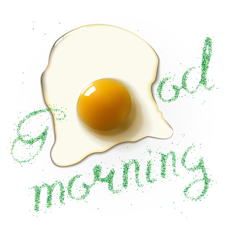 breackfast: Fried egg with Good Morning green lettering. Breackfast healthy background. Vector illustration