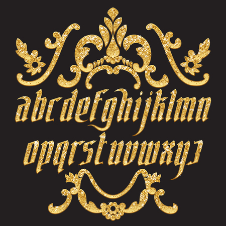 typeface: Gold glitter typeface. New modern gothic font. Gothic letters with decoration elements. Vector alphabet