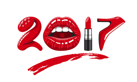 cosmetics products: 2017 year. woman things. Red glossy lips of open mouth, makeup lipstick, high heels shoes. illustration