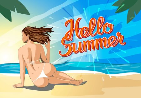 naked woman back: Hello summer lettering and Woman Sitting on Sand of the Sea Beach and Takes Sunbath