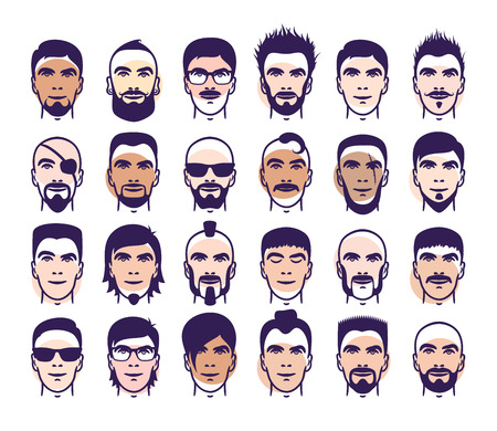 color samples: Set of close up different hair, beard and mustache style men portraits with many skin color samples isolated  illustrations