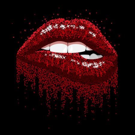 Abstracte rode fonkelingen Open mond met kleur verf flow glanzende Lippen Bijten
