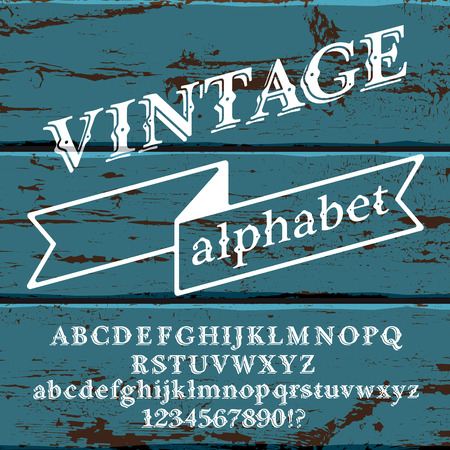 painted wood: Retro vintage alphabet font. Custom type letters and numbers on a old painted wood background.