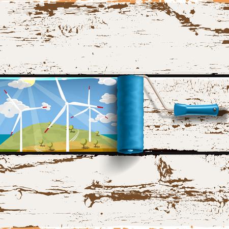 Alternative Energieinnovationskonzept. Walzenbürste mit Rahmen von Windturbinen, blauer Himmel sonnige Landschaft auf dem alten bemalten Holzplatten Hintergrund Vektorgrafik