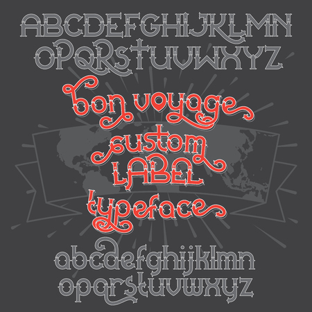 old postcards: Custom retro typeface Bon Voyage. Vintage alphabet font set on the dark background and world map ribbon scroll