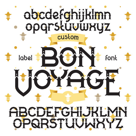 bon: Custom retro typeface Bon Voyage. Vintage alphabet font set on the background of gold royal heraldic lilies Illustration