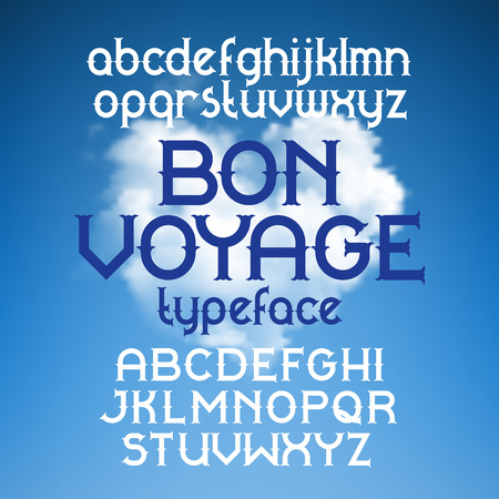 artnouveau: Custom retro typeface Bon Voyage. Vintage alphabet font set on the background of heart shape cloudscape