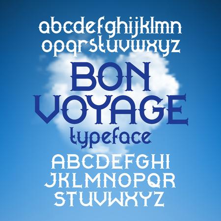 bon: Custom retro typeface Bon Voyage. Vintage alphabet font set on the background of heart shape cloudscape