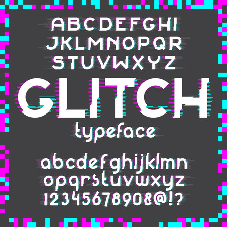 deficient: Glitch alphabet set. Typographic distortion font. illustration