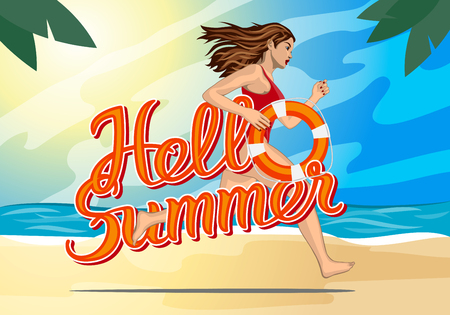rescuer: Hello summer lettering and Running woman - lifeguard in a red swimming suit with lifebelt Illustration