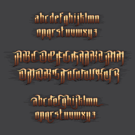 gothic letters: Modern Gothic Style Font. Gold Gothic letters with decoration elements