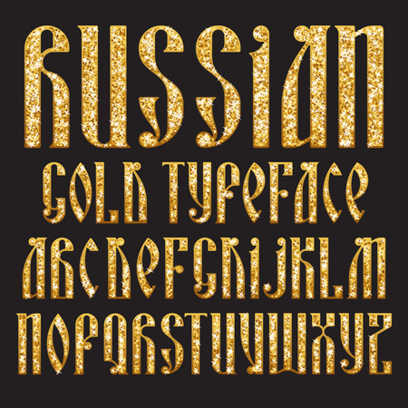 Russian Gold typeface. Latin stylization of Old slavic font. Custom type vintage letters on a dark background.  typography for labels, headlines, posters etc.