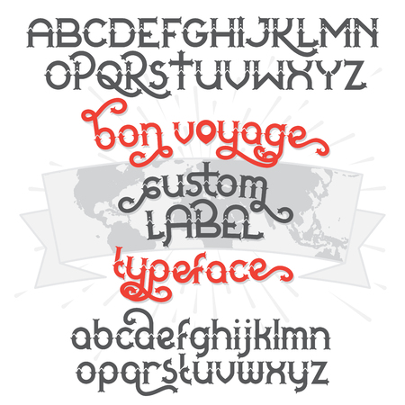 artnouveau: Custom retro typeface Bon Voyage. Vintage alphabet font set on the dark background and world map ribbon scroll