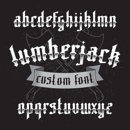 wood chip: Lumberjack custom gothic alphabet font set on dark background of two old axes and wood chip. New modern typeface