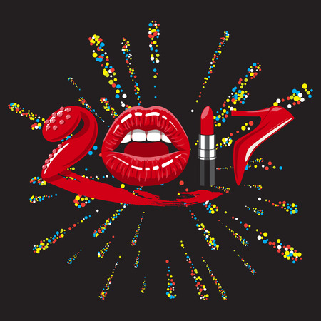 vibrator: 2017 year. woman things. Red glossy lips of open mouth, makeup lipstick, high heels shoes.