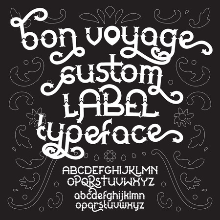 artnouveau: Custom retro typeface Voyage. White vintage alphabet font set on the black background. Illustration
