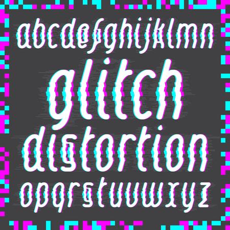 distortion: Modern custom glitch distortion alphabet font. Trendy glitch font set.