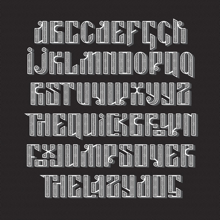 custom letters: The latin stylization of Old slavic font. Custom type vintage letters on a dark background and sample text. Stock typography for labels, headlines, posters etc.
