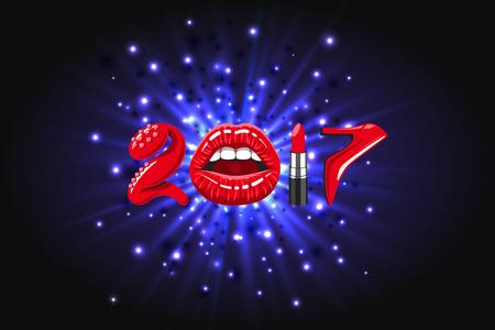 tacones rojos: 2017 años, cosas de mujeres. los labios brillantes rojos de la boca abierta, lápiz labial maquillaje, zapatos de tacones altos en el fondo de luz abstracta, destello brillante, explosión o estallido