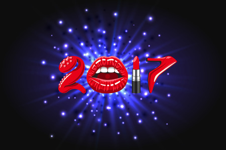 high heels shoes: 2017 year, woman things. Red glossy lips of open mouth, makeup lipstick, high heels shoes on background of abstract light, bright flash, explosion or burst Illustration