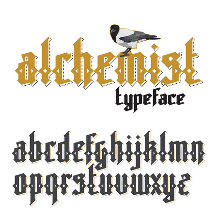medieval medicine: Alchemist modern custom gothic alphabet font. Alchemist magic vector font set Illustration