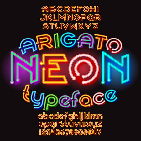 Arigato color neon typeface. Round font set. Vector alphabet