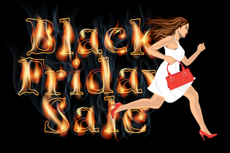 shoppers: young woman in white dress running on Black friday Sale Illustration