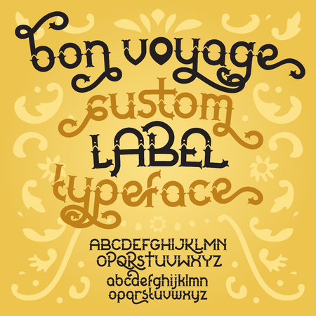 artnouveau: Custom retro typeface Bon Voyage. Vintage alphabet font set on the gold background. Vector illustration Illustration