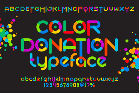 Round font set. Color donation typeset. Vector colorful alphabet