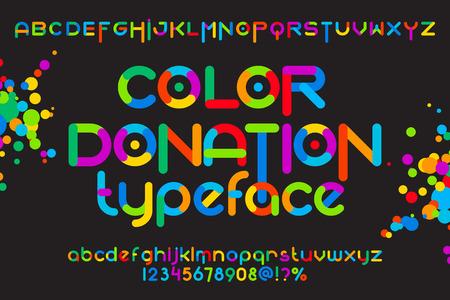 Round lettertype set. Color donatie gezet. Vector kleurrijke alfabet
