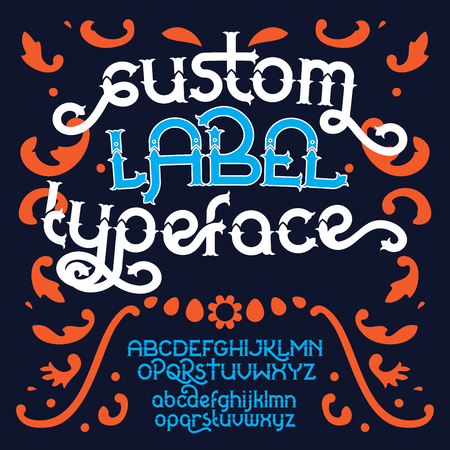 old postcards: Custom retro typeface. Vintage alphabet font set on the dark background. Vector illustration